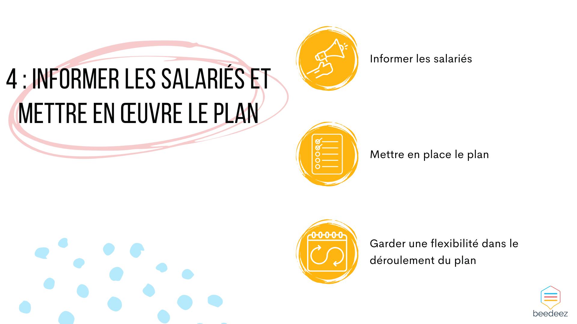 Informer les salariés et mettre en œuvre le plan